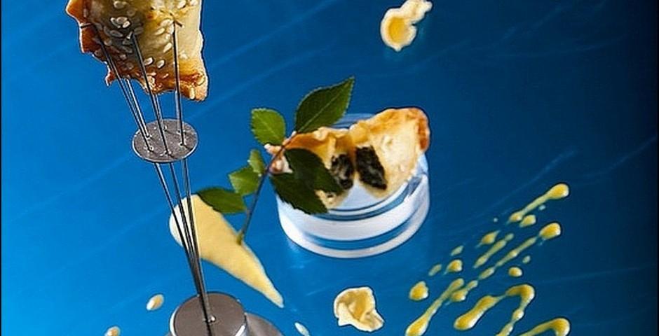 Chef Gianfranco Chiarini  <br> (Photo : Alan de Herrera) <br> Italian-Israel Fusion <br> Burekas Involtini & <br> Roasted Pumpkin Bechamel