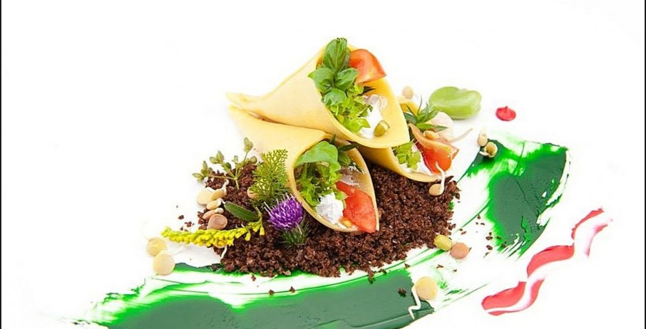 Chef Gianfranco Chiarini  <br> (Photo : Donato Ricci) <br> Cornetti Pasta with Ratatouille and Goat <br> Cheese over Kale-Basil Pesto